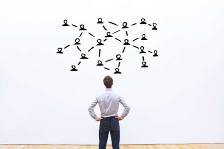 social network or communication concept, connects between people