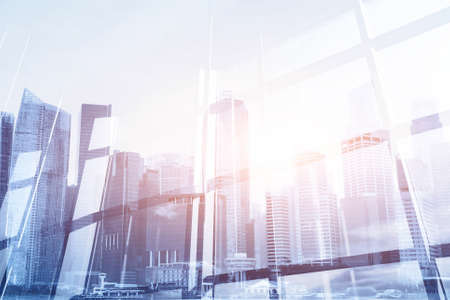 abstract business modern background with cityscape double exposure Imagens