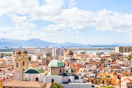 Cagliari panoramic view, Sardinia, historical mediterranean architecture of Italy