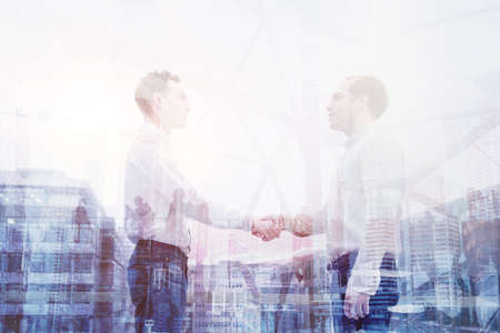 real estate deal, handshake double exposure, business people cooperation concept