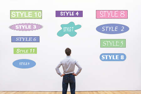 contemporary taste: designer choosing style, fonts, shapes and colors  for design Stock Photo