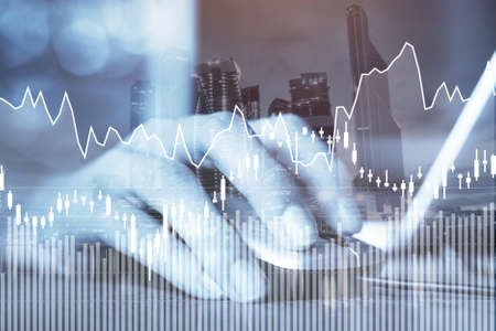 e-business or forex concept, business online, abstract financial charts with statistics