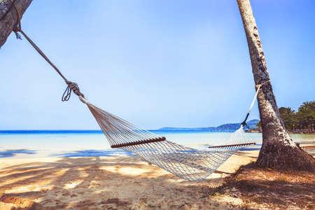 hammock on paradise beach, holidays on tropical island