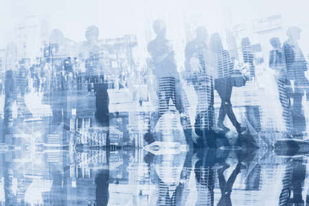 business people double exposure with reflection, abstract silhouettes of crowd, concept background