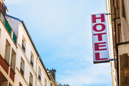hotel sign on the street of european city