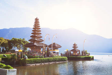 holy temple Pura Ulun Danu Bratan on the lake in Bali, Indonesia