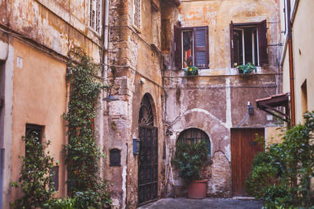 travel to Rome, cozy european courtyard, street in Italy