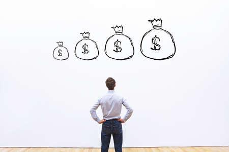 利益成長金融概念、お金と投資 写真素材