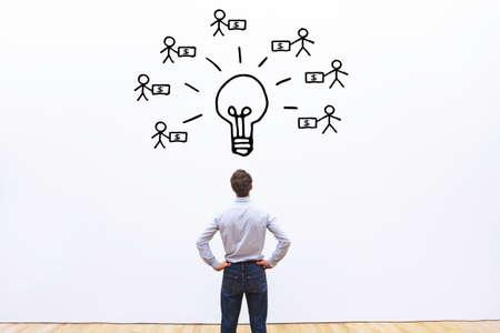 투자자 개념, 새로운 비즈니스 프로젝트를위한 모금 스톡 콘텐츠