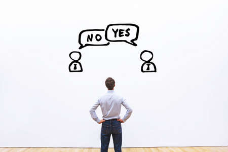 opinions: yes vs no, negotiation, dialog or dispute concept, discussion of two business people with different opinions