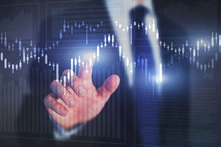 financial graphics and charts background, stock market concept, investor analyzing digital data