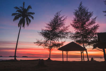 beautiful landscape at sunset, tropical nature of exotic island with copyspace, summer romantic  view