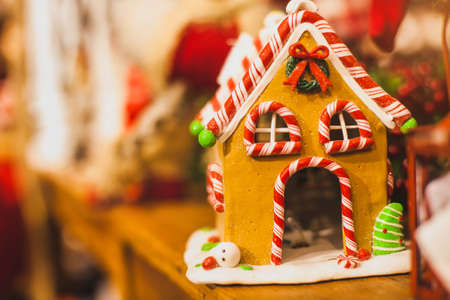caramel candy house for christmas decoration, sweet gingerbread cookie