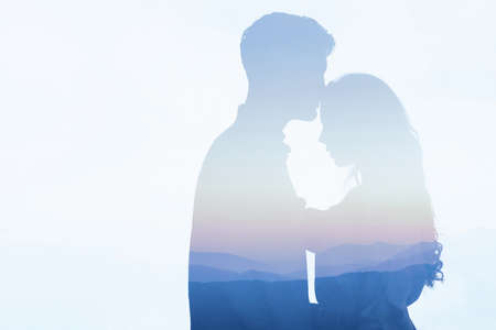 double exposure of couple in love, affectionate man and woman, dating, silhouettes on white background