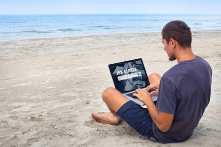 freelancer looking for work online, job search on internet, man sitting on the beach with laptop computer