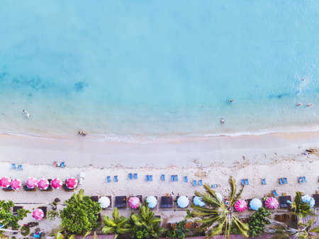 aerial landscape of beautiful tropical beach, top view from drone