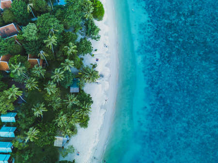 vacation on the beach aerial landscape, drone view of paradise island coast Фото со стока