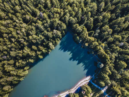 aerial landscape of beautiful mountain lake in the forest, top view, nature of Switzerland Фото со стока