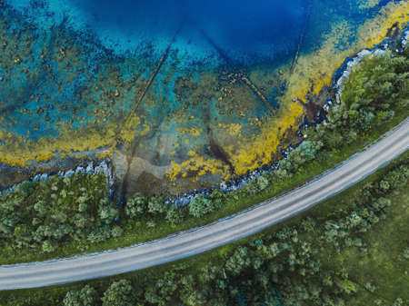 beautiful aerial landscape with pattern of blue water, road and green forest, view from drone Фото со стока