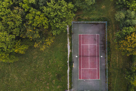 aerial view of tennis court from drone