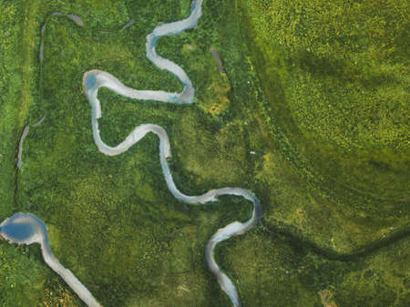 aerial landscape of winding river in green field, top view of beautiful nature texture from drone Фото со стока