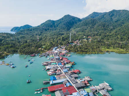 beautiful nature of Koh Chang island from drone, Bang Bao village, aerial panoramic landscape