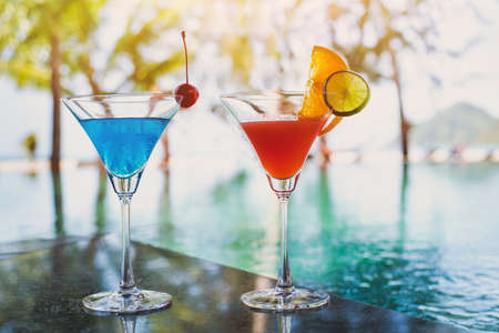 exotic cocktails in pool bar on the beach