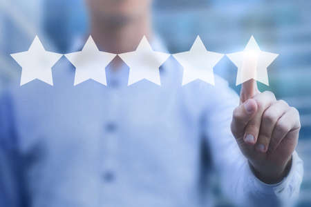 good rating online concept, 5 stars review, positive feedback of satisfied customer