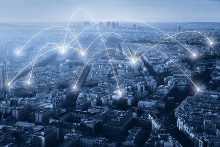 communicatie- en netwerkverbindingsconcept, internetachtergrond met veel links