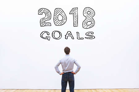 goals 2018 concept, business plan to achieve Stock Photo