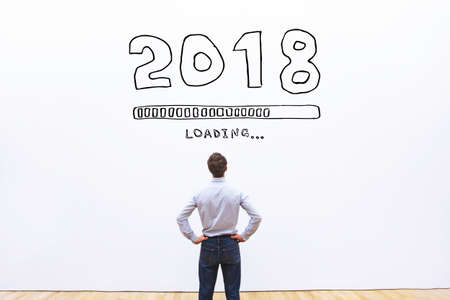 2018 new year concept with loading bar Stock Photo