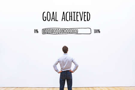 goal achieved progress loading bar, concept of achievement process Banco de Imagens