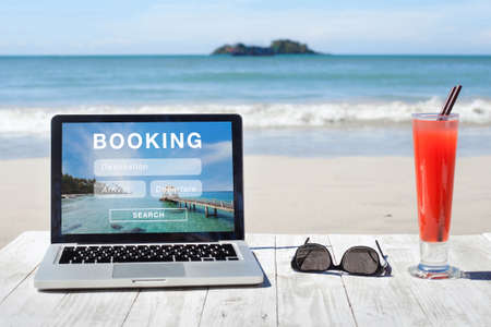 travel booking, hotels and flights reservation on the screen of computer Stock fotó - 111082474