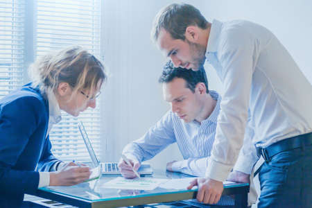 business team working on startup project development, group of people meeting in modern bright office Stock Photo