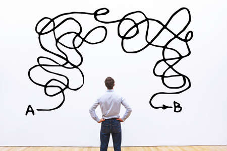 Complicated solution of problem, complex business idea or creativity concept, complexity. Stock Photo