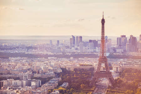 Paris Eiffel Tower beautiful panoramic view, travel to Europe, tourism in France, summer sunny cityscape