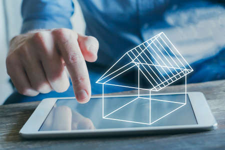real estate digital project, 3d concept model of virtual house on the screen of tablet computer