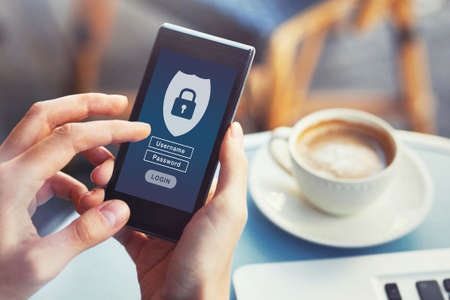 login to mobile app, cybersecurity, private access with username and password to personal data, concept on screen of smartphone Foto de archivo