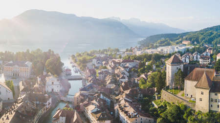 aerial cityscape of Annecy, panorama of old town historical houses and lake, France