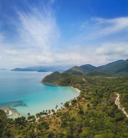 beach in Thailand Koh Chang island, aerial landscape, view from drone