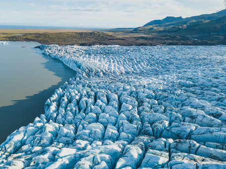 Glacier melting in Iceland, beautiful aerial landscape, view from above