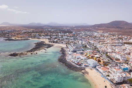 Corralejo aerial cityscape, port city in Fuerteventura, beautiful panoramic view of Canary islands, Spain 版權商用圖片
