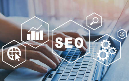 SEO Search Engine Optimization concept diagram with icons, internet technology for business company