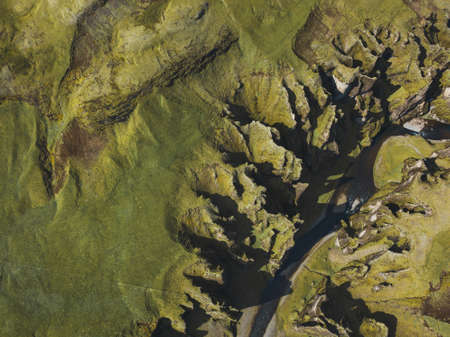 aerial landscape of Fjadrargljufur canyon in Iceland, beautiful volcanic nature top down view 版權商用圖片