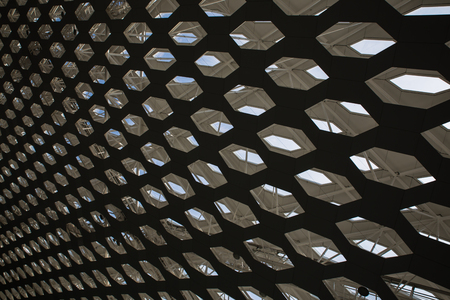 perforated: perforated roof ceiling in Shenzhen city airport Stock Photo