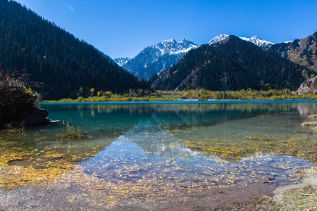 clear water with fallen leaves and mountans reflection in Issyk lake in Kazakhstan