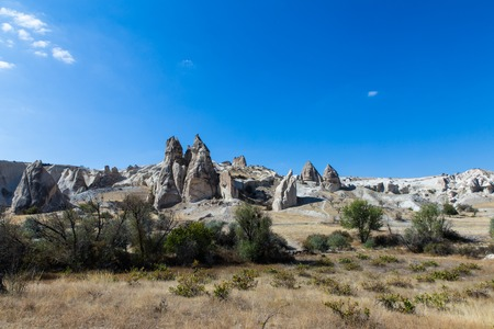 love valley in Turkey, Cappadocia with blue sky and sand hills in background Imagens