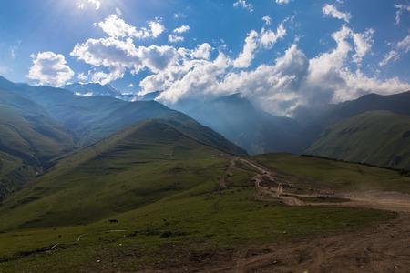 View to mount Kazbek near Stepantsminde village, Georgia in the summer