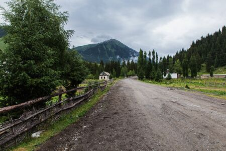 road to forbidden ghost town Enilchek in Karakol, Kyrgyzstan
