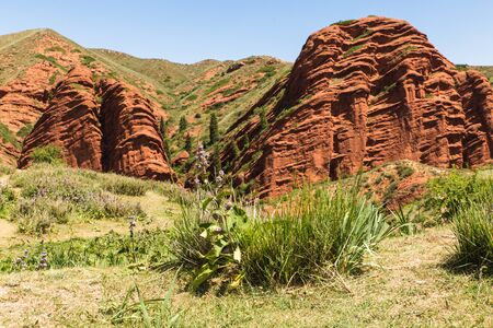 Seven bulls Jeti Ogyz valley red sandstone formation in Kyrgyzstan